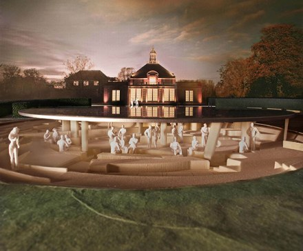 This year's pavilion will lead two lives: one as a reflecting pool, redoubling the presence of the Serpentine Gallery, a 1934 classical tea pavilion, and another as an archaeological site, exposing the remains of the eleven previous pavilions belowground. Photograph: Herzog & de Meuron and Ai Weiwei